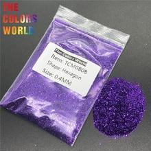 TCM0808 глубокий фиолетовый цвет металлик блеск Шестигранная форма блеск для ногтей художественное украшение Макияж Лицо живопись хна ручная работа DIY