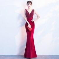 Элегантный Бисер Длинные платье с русалочкой Для женщин пикантные глубоким v образным вырезом без рукавов с открытой спиной замши Платья дл