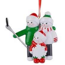 Resin Snowman Family Shovel Of 3 Christmas Ornaments Personalized Gifts Write Own Name For Holiday or Home Decor