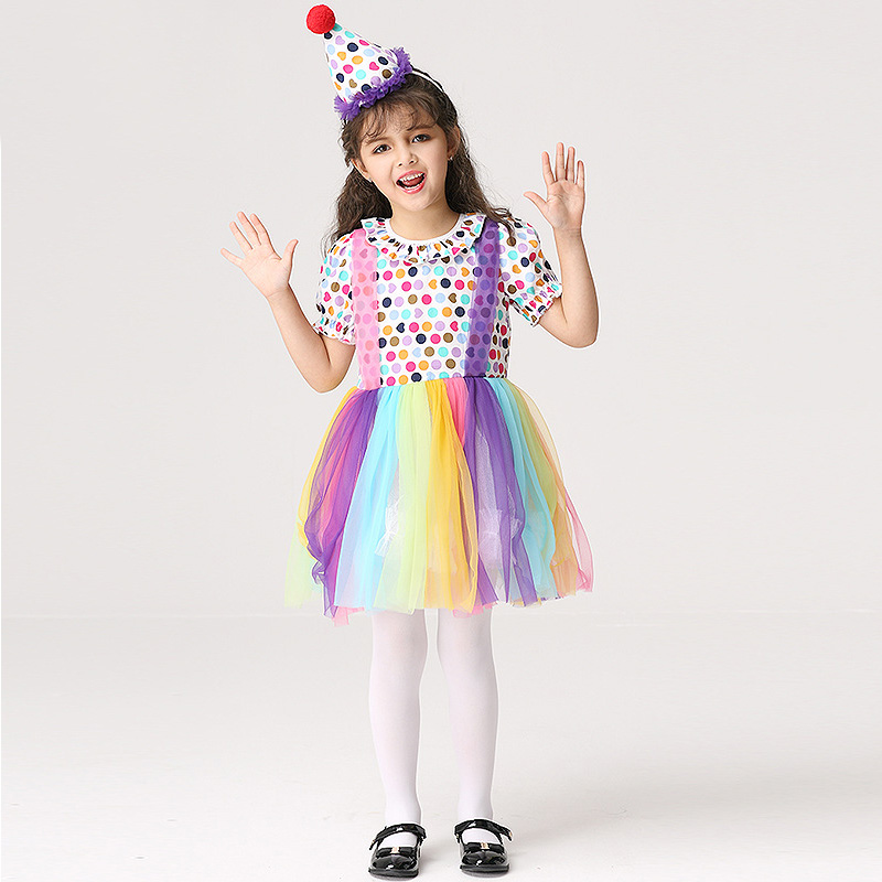 Talent Show Costume Little Girls Clown Colorful Mesh Rainbow Dress