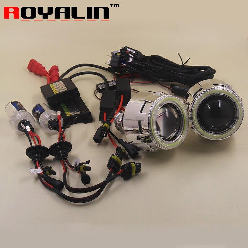 ROYALIN Car Styling 2.5 Bi-xenon Projector Lens Kit LHD RHD w/Angel Eyes for H1 H4 H7 HID bulbs Auto Lights Retrofit 5000K 6000K цена