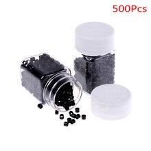 500 шт 4,0*3,0*3,0 мм черные силиконовые выложенные микро-бусины для наращивания волос трубы микроринги трубки бусины алюминиевое отверстие