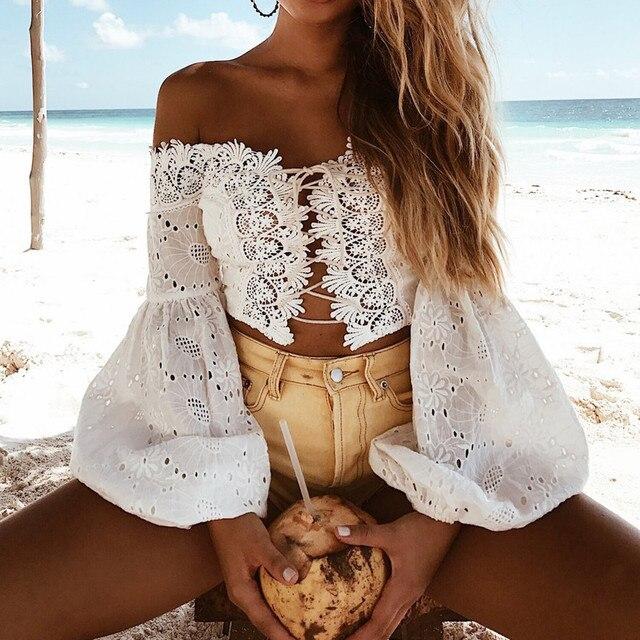 נשים תחרה חולצות סלאש צוואר חשופה גב כבוי כתף חולצה מוצק ארוך flare שרוול לפרוע יבול למעלה שיפון blusasGH