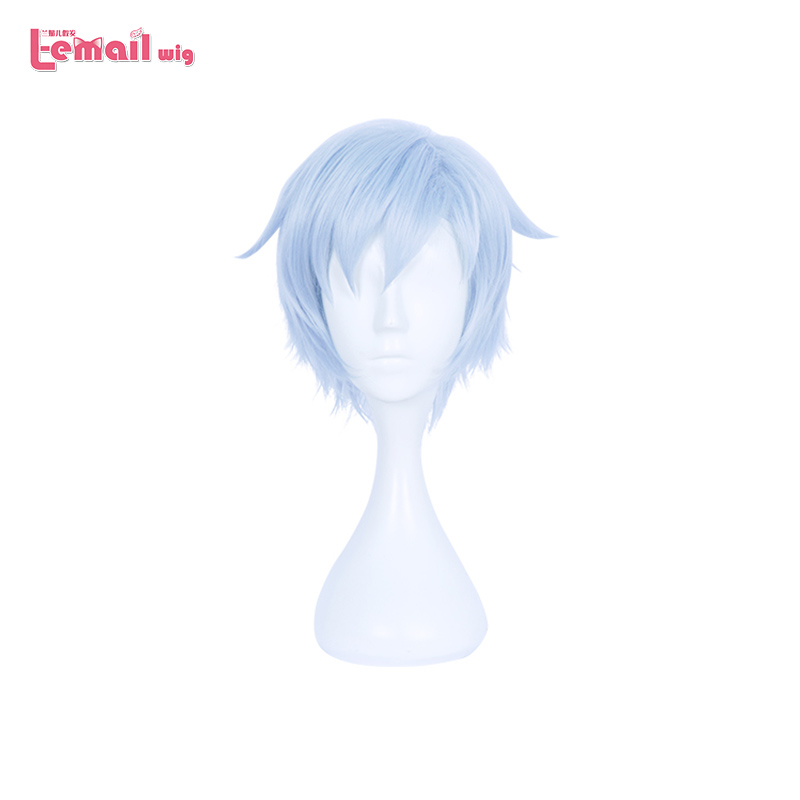 L-email wig Brand New 28cm/11.02inches Cosplay Wigs Light Blue Short Heat Resistant Synthetic Hair Perucas Cosplay Wig