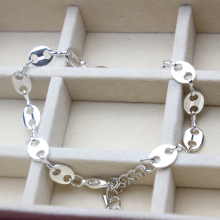 New Arrival Oval Shaped Anklet Chain Foot Jewelry Silver Plated 1 pcs / lot