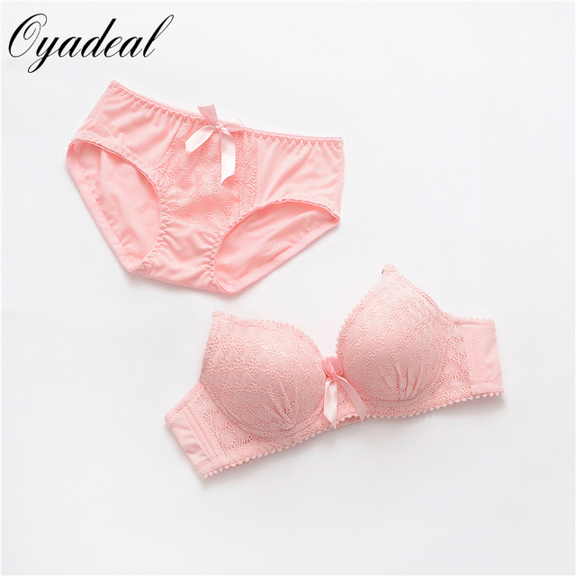 New Sexy young girl embroidered bowknot bra set Solid color underwear set  bra brief sets brassiere 9ef79dc9d