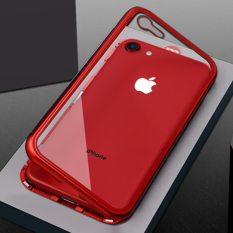 Magnetic Adsorption Metal Case for iphone X 8 8plus 7 7plus 6 6s Plus Luxury Clear Tempered Glass Back Cover Magnet Bumper Coque