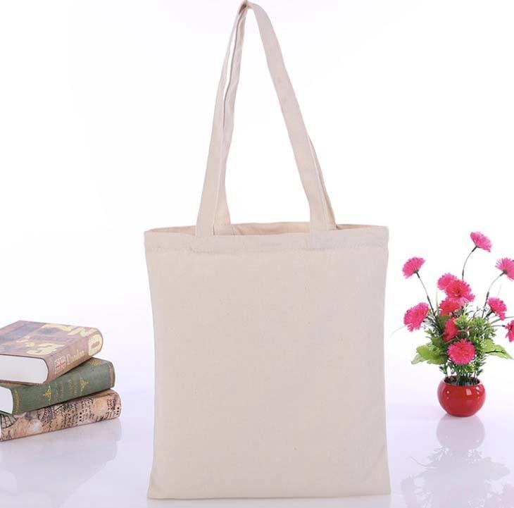 5pcs Sample Bag No logo Tote Bag Cotton Women Shopping Bag Casual Plain Nature Cotton Canvas Shoulder Bags No Zipper