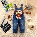 10 M 1 T 2 Anos Bebê Infantil Meninas/Meninos Denim Macacão Jeans Macacão Animal Cão Roupa Do Bebê Da Criança macacão