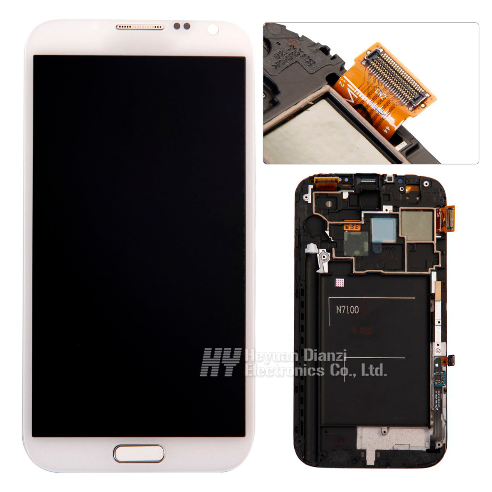 LCD Display Touch Screen Digitizer Assembly with Frame For Samsung Galaxy Note II Note 2 N7100 N7105 I317 T889 freeshipping