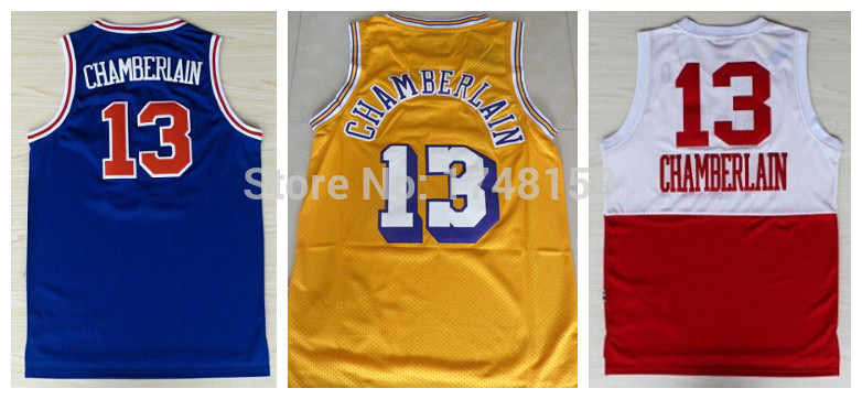 sports shoes badc5 f7cfe Wholesales #13 Wilt Chamberlain Jersey,2015 Yellow Blue Red ...