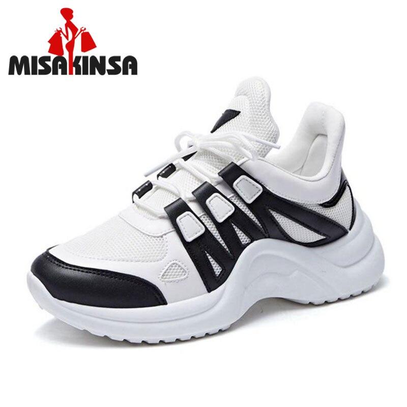 MISAKINSA tamaño 35-43 de malla transpirable zapatos casuales de las mujeres Vulcanize mujer Zapatillas de deporte de moda de encaje suave de alta de ocio calzado