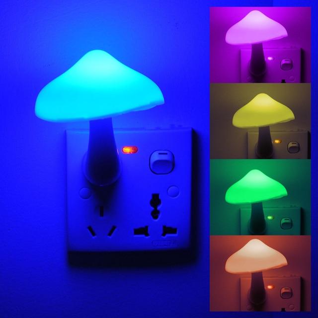 4 Colors Wall Socket Lovely Cute Yellow Mushroom Shape LED Night Light Lamp Living Room Baby