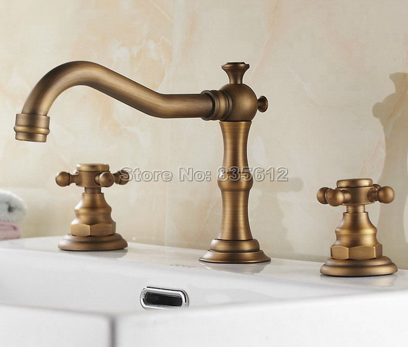 3 Hole Deck Mounted Antique Brass Dual Cross Handles Widespread Bathroom Basin Mixer Tap Vessel Sink Faucet Wan026 antique brass swivel spout dual cross handles kitchen