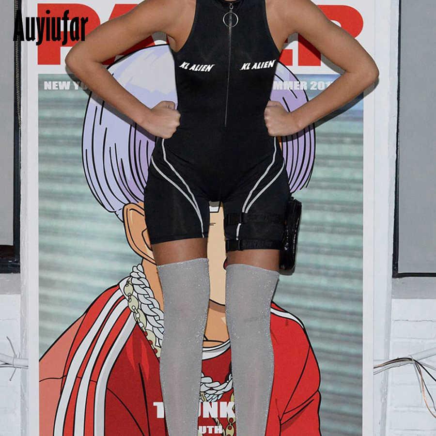 Auyiufar облегающий костюм-комбинезон на молнии женский спортивный боди Женский Черный Принт с буквами без рукавов 2019 Новый комбинезон