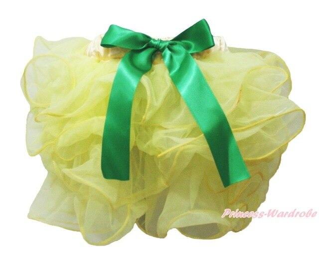 Mardi Gras Yellow Petal Pettiskirt Green Bow Baby Girl Dance Tutu Skirt NB-8Year