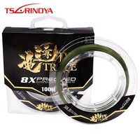 TSURINOYA TRACE 100m 8 Braided PE Fishing 20LB 25LB 30LB 35LB Wear Resistant Carp Fish Line Linha Pesca Pesca Fishing Wire Tools