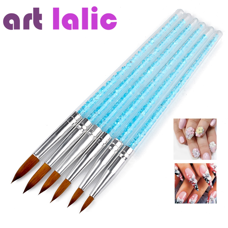 Artlalic 6pcs/lot Nail Art Brush Pens UV Gel Varnish Painting Drawing Blue Crystal Handle Brushes for Nails Manicure Tools Set blueness 10pcs lot 3d crystal rhinestones design nails art decorations nails glitter studs accessories for manicure uv gel