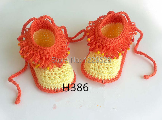 Baby Booties Loop Stitch With Beads