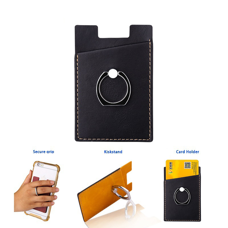 mobile phone card holder Anti RFID scanning back sticker with Magnetic car finger ring stand ...