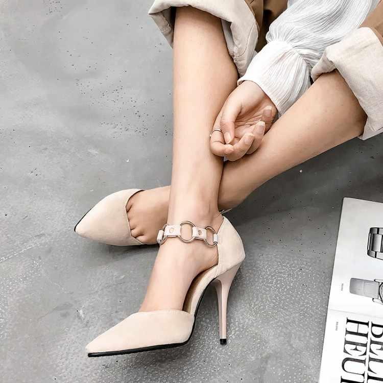 Ukuran Besar 11 12 13 14 15 Sepatu Hak Tinggi Sandal Wanita Sepatu Wanita Musim Panas Wanita Suede Dangkal Menunjuk Tebal hak Baotou Gesper