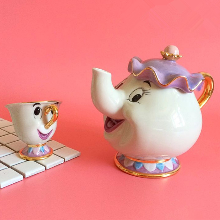 Flash Sale Cartoon Beauty And The Beast Tea Set Teapot Cup Mrs Potts Chip Tea Pot Cup lovely Birthday Gift