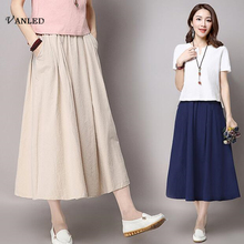 VANLED 2017 New Design Women Cotton Linen Maxi Skirts Summer Elegant Solid Casual Women Long Skirt Breathable Mesh Jupe Hot Z163