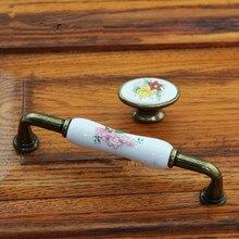 128mm rustic fashion rural ceramic dresser kitchen cabinet door handles bronze antique brass drawer shoe cabinet