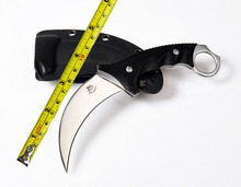 Crazy karambit Mirror light AUS-8 Blade G10 Handle ctical Knife Hunting knife Outdoor camping knives Tools Straight knife