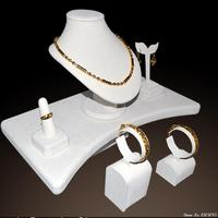 Xmas sale jewelry showcae window display beige velvet wood for necklace bangle holder