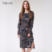 Spring Autumn Women S Dress Fashion Vintage Long Puff Sleeve Printed Flowers Dresses Casual Bodycon Party