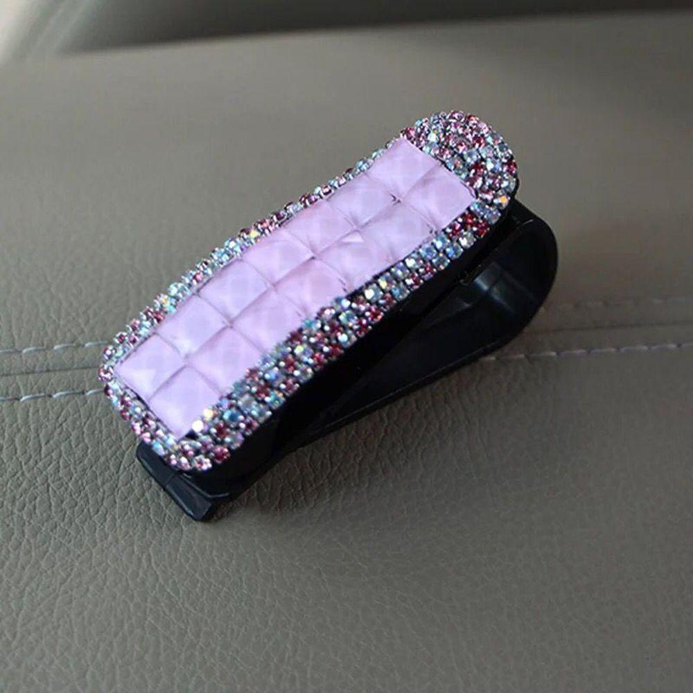Авто Застежка Клип Кристалл Стразы автомобильный солнцезащитный козырек очки солнцезащитные очки папка для билетов квитанция карта зажим для хранения аксессуар держатель - Название цвета: pink