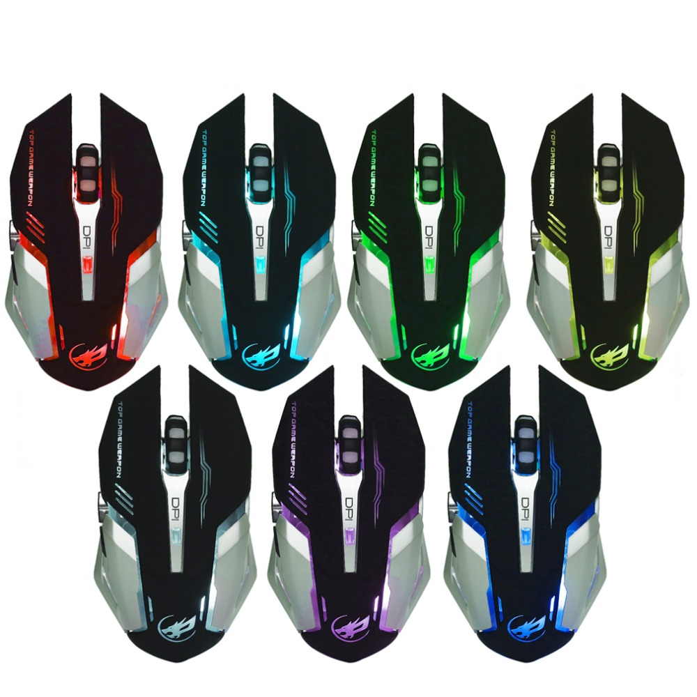 Professional 6 Buttons Wireless Optical Mouse Gamer Computer Gaming Mice Adjustable DPI Mouse with Colorful Backlight Hot Sale
