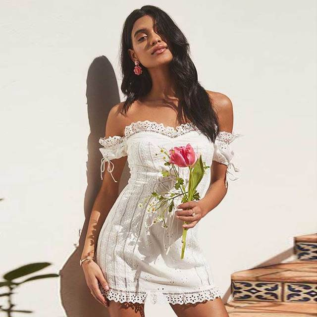 c0d3ad75a4 BOHO INSPIRED Eyelet Lace Up Dress strapless off shoulder mini white women  dress elastic puff sleeves summer dresses 2019