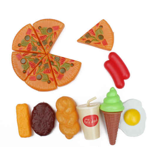 Funny Plastic Kid Children Pizza Cola Ice Cream Food Kitchen Pretend Role Play Toy Birthday Gift For Child