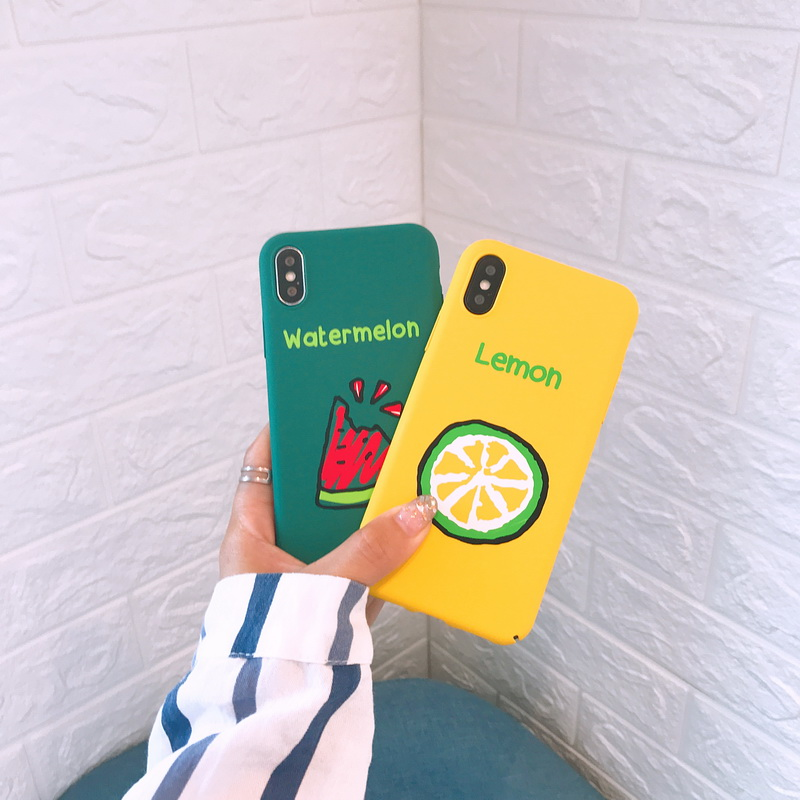 Fashion Cartoon Drawing Strawberry Lemon Watermelon Case for iPhone X 8 7 Plus Hard PC Plastic Cover for iPhone 7 6 6S Plus Capa