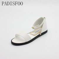 2017 New Fashion Summer Pure Color Pu Sandals Comfy Women S Flat With Beads For Women