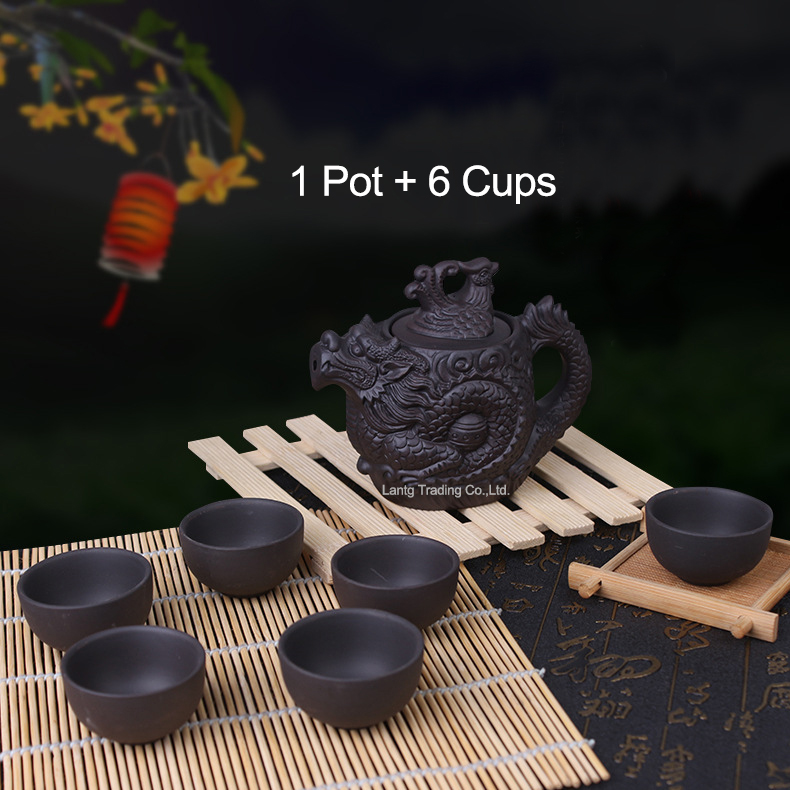 Chinese Dragon Kung Fu Tea Sets,Yixing Purple Clay Teapot 210ml,Black Teacup,1 Pot + 6 Cups Tea Service High Quality Tea Set