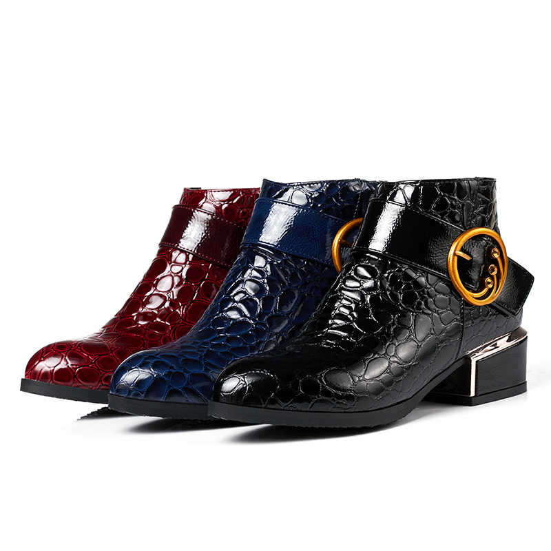 EGONERY büro frau schuhe herbst winter plüsch 4,5 cm mid heels wein rot schwarz blau stiefeletten Patent leder pu booties 43CN