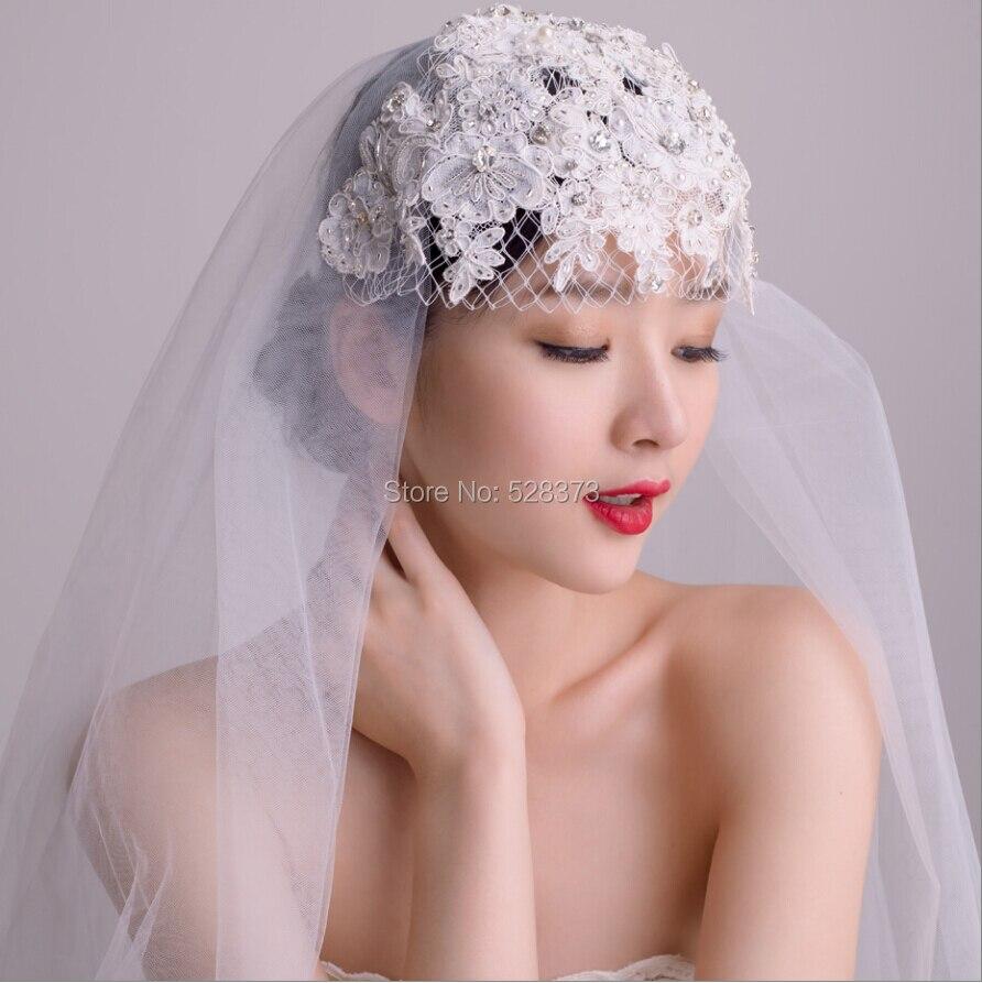 YNQNFS V24 Real Hair Decoration Crystal Pearls Beaded Lace Facial ...