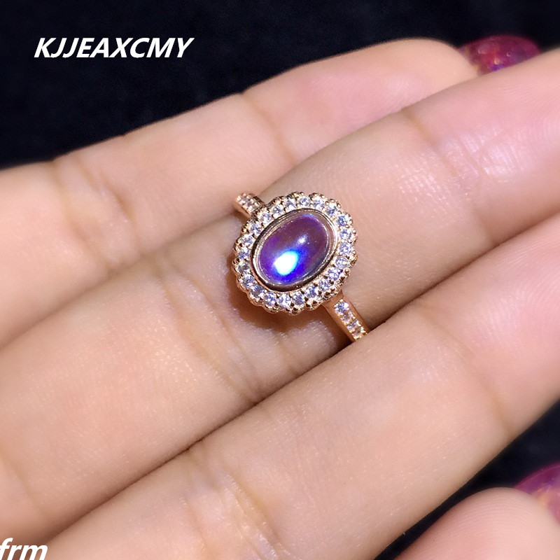 KJJEAXCMY Fine jewelry Fine Inlaid natural blue moonstone female models 925 sterling silver rings wholesale blue