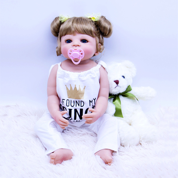 """23"""" 55cm Full silicone Reborn baby Play House dolls toys for 2 year old bebe bathe bonecas kids gift modeling doll Bonecas"""