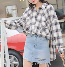 Spring and summer new style Hong Kong-style retro loose shirt Lazy Simple Plaid Long Sleeve Top