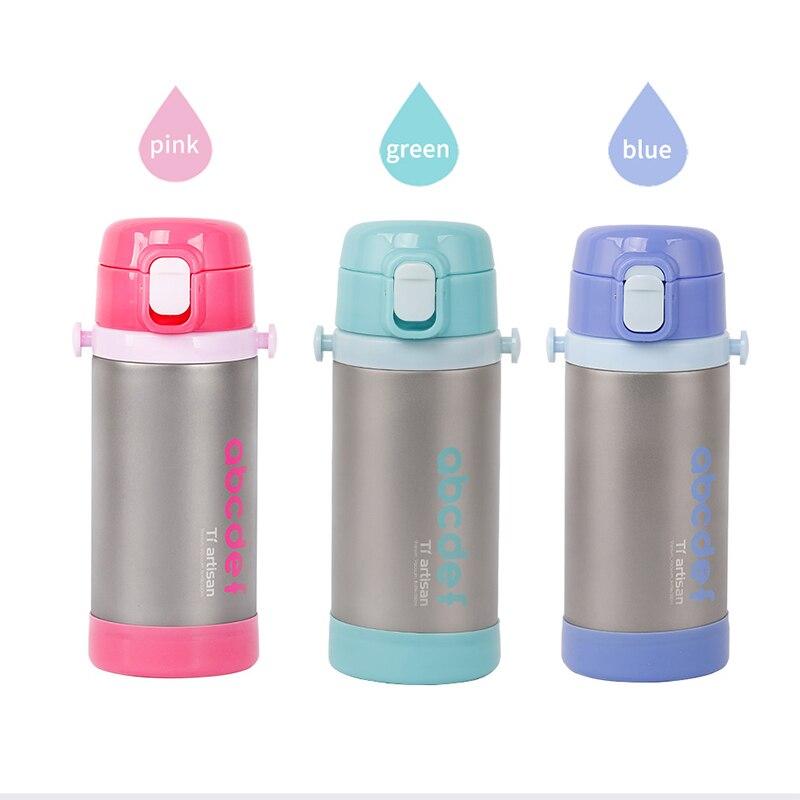 350 ml Tiartisan enfants titane Double paroi Vacuume bouteille d'eau pour Camping en plein air randonnée boisson tasse d'eau 3 couleurs Ta8399