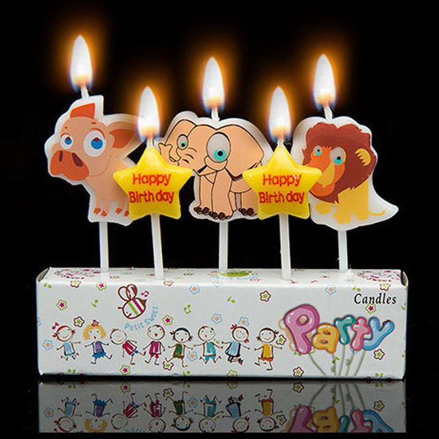 5pcs Cute Animal Dog Elephant Lion Deer Horse Happy Birthday Art Smokeless Candle For Party Supplies Cake Cupcake Toppers