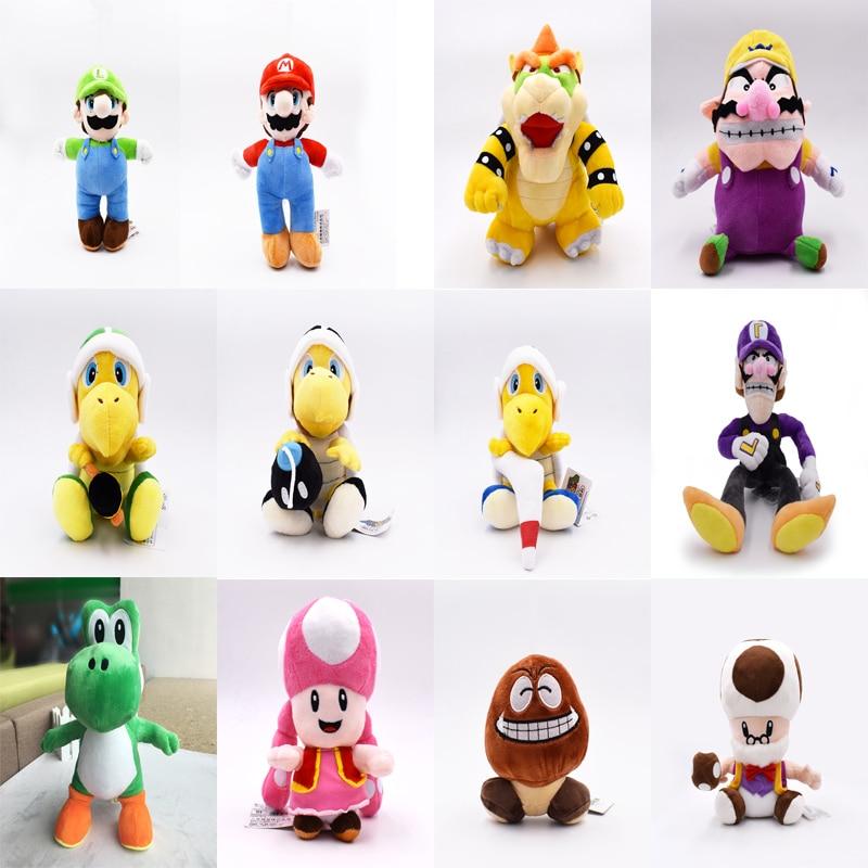 Super Mario Brothers Plush YoShi Koopa Troopa With Hammer Boomerang Wario Waluigi Goomba Mushroom Old Man Toadette Hot Toys Baby
