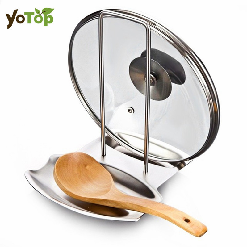 YOTOP Stainless Steel Pan Pot Cover Lid Rack Stand Spoon Holder Stove Organizer Storage Soup Spoon Kitchen Accessories
