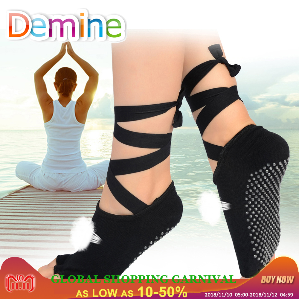 Demine Women Dancing Bandage Socks Ladies Gym Yoga Pilates Ballet Silicone Antislip Five Toe Cotton Ribbon Sock Quick-Dry Insole soumit 5 colors professional yoga socks insoles ballet non slip five finger toe sport pilates massaging socks insole for women