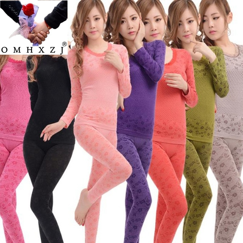 OMH Wholesale Round Collar Women Lace Flower Shaper Seamless Thermal Underwear Long Top+ Pants Shapewear Long Johns  UN01