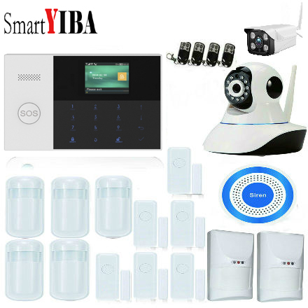 SmartYIBA APP Control 2.4 Inch SOS RFID Arm WIFI 3G WCDMA Home Burglar Alarm Security System Smoke Fire Sensor Video IP Camera